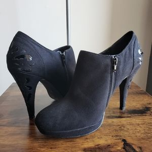 IMPO Black Suede Bootie Heels with Shiny Detailing